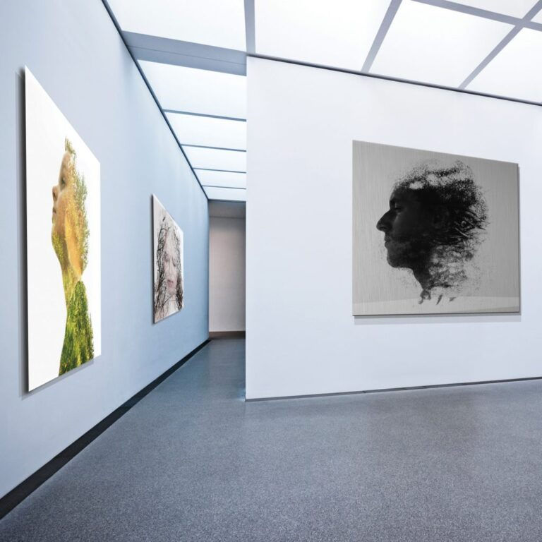 example of metal prints at exhibition