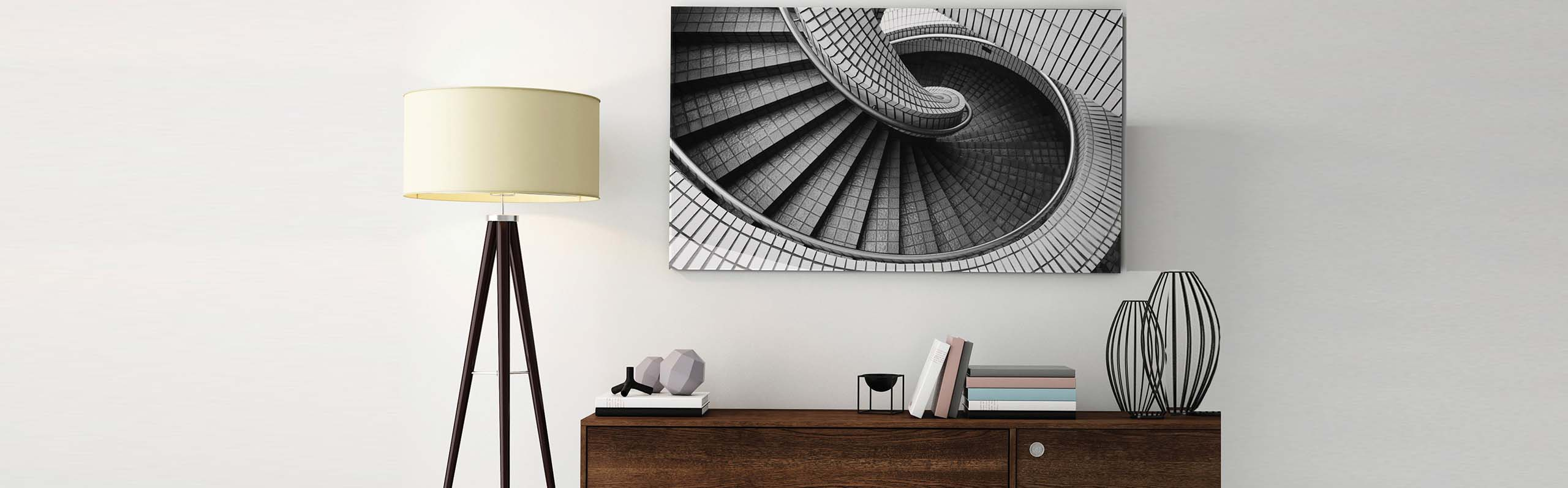 metal print on wall in living room
