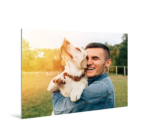Metal prints example - man with dog