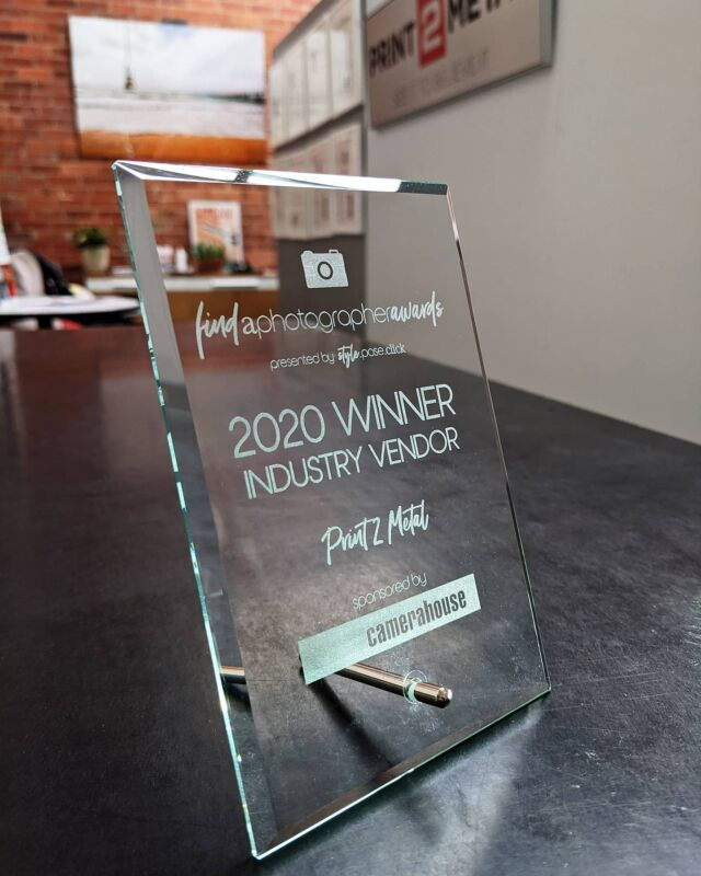 Proudly displayed at our studio, the winner's trophy from the Photographic Industry Vendor of the Year 2020 Award run by @findaphotographeraustralia. Thank you to the team, judges and sponsors of the awards for all you support of finalists and winners in the industry. An extra special thanks to all our wonderful clients who took the time to write reviews. We are so appreciative. Thank you 😍 * * * #findaphotographeraustralia #print2metal #awardwinningprinter #fineartprints #hdmetalprints #chromaluxe #realchromaluxe #photolab #printlab #camerahouse #alittlelifecreative #markrossettocoaching #emilyblackphotography_au #styleposeclick #metalprints #wallart #smallbusinessaustralia #businessawards #professionalphotographer #australianphotographers #successfulbusinesses #photographybusinessoftheyear #findaphotographeraustralia #metalprints